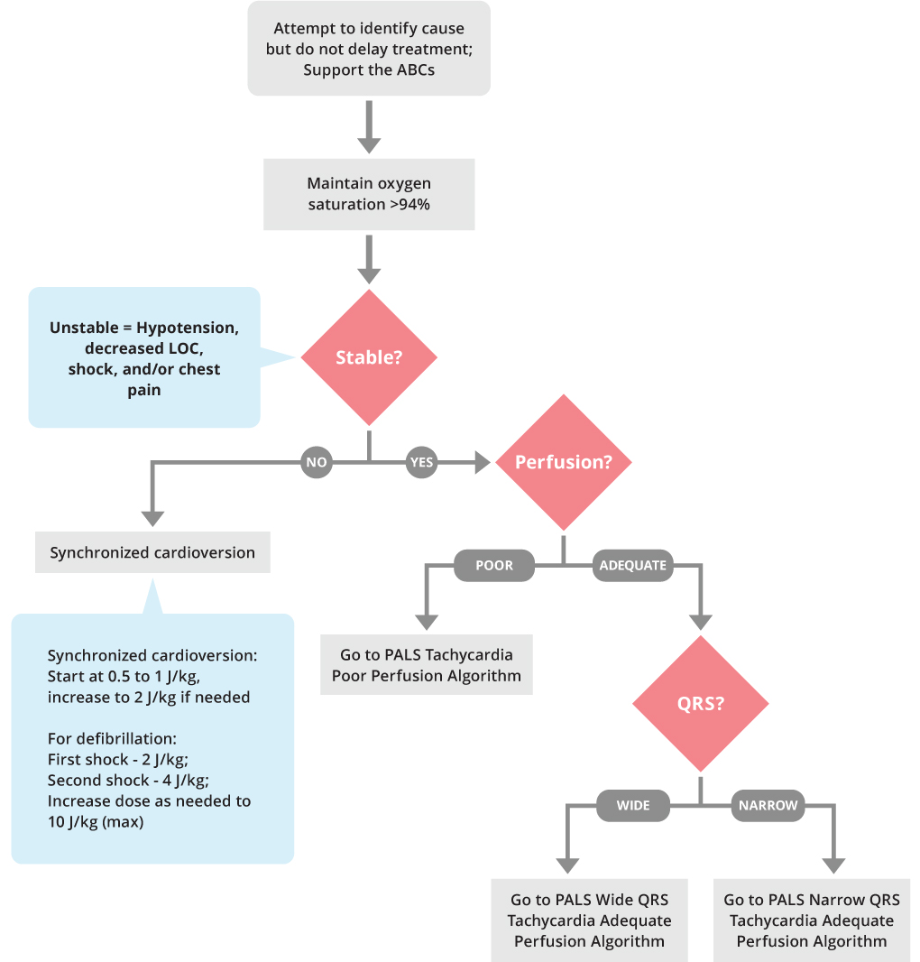 Pals Tachycardia Initial Management Algorithm Acls Medical Training